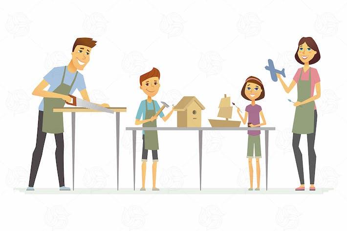 Family making handicrafts - vector illustration