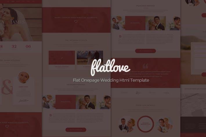 Thumbnail for FlatLove - Flat Onepage Wedding Html Template