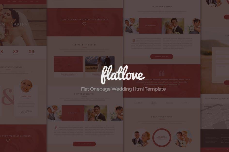 Download FlatLove - Flat Onepage Wedding Html Template by eriktailor