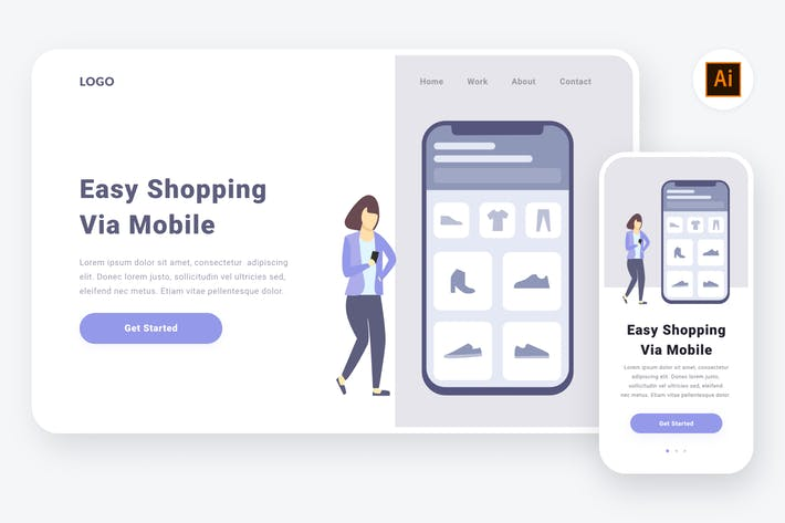 Thumbnail for Shopping via mobile illustration (AI, SVG)