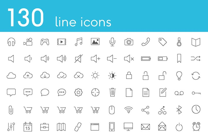 Thumbnail for Vector Line Icons and Font
