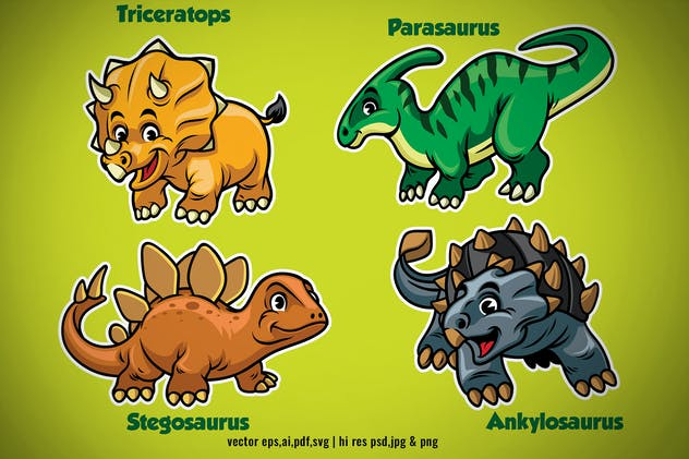 set of dinosaurs kid in cartoon style