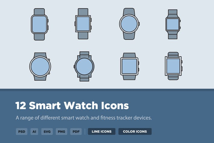 Thumbnail for 12 Smart Watch Icons