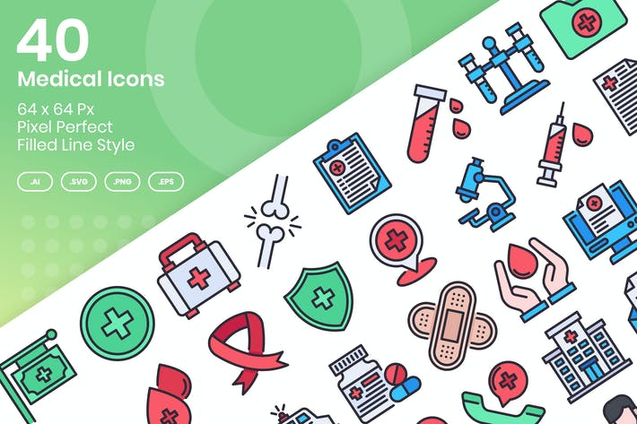 Thumbnail for 40 Medical Icons Set - Filled Line