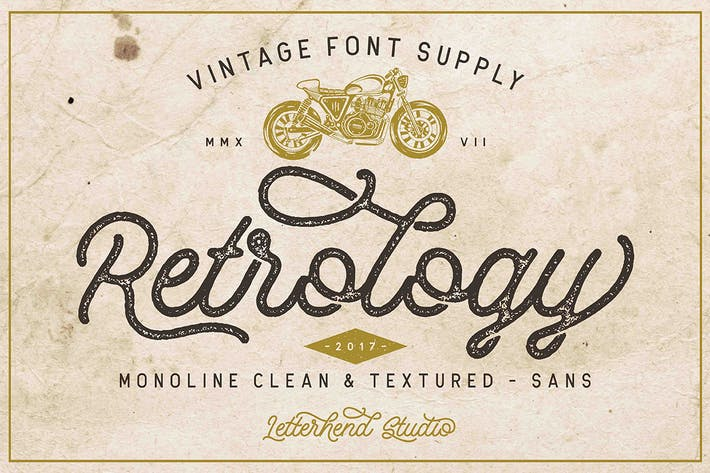 Thumbnail for Retrology - a retro monoline script