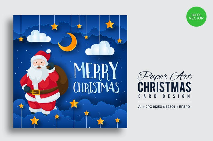 Thumbnail for Merry Christmas Square Vector Card Vol.4