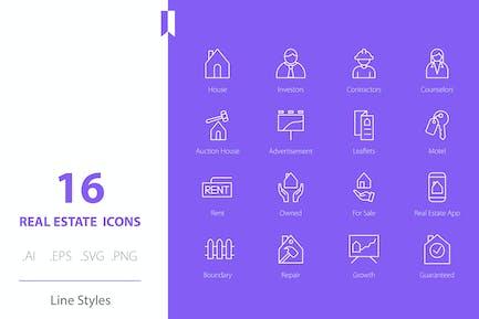 Real Estate Icon Set Line Styles