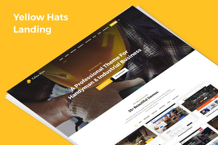 Thumbnail for Yellow Hats Demo Landing PSD Template
