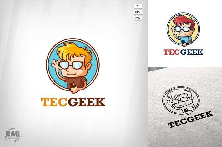 Thumbnail for Technology Geek Logo Template