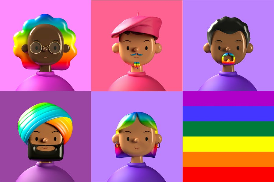 Pride Character 3D Illustration — Toy Faces