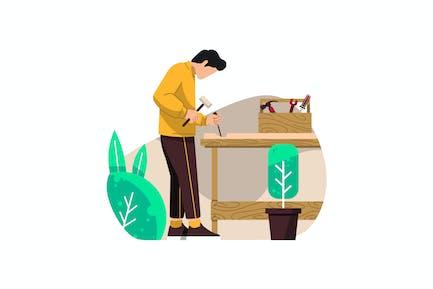 Carpenter Flat Vector Illustration