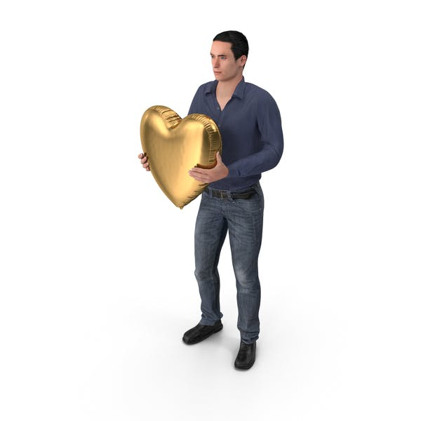 Casual Man James Holding Heart Balloon