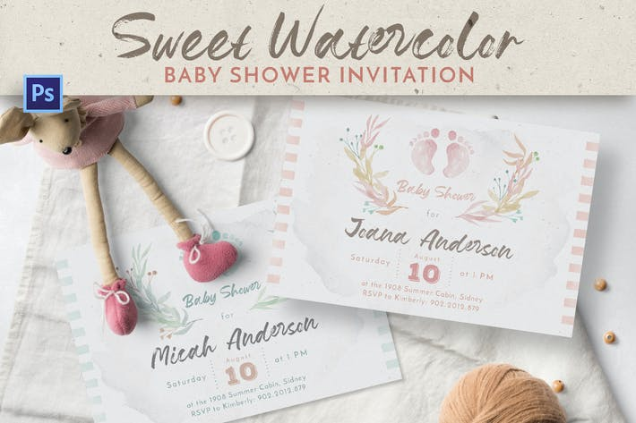 Thumbnail for Sweet Watercolor Baby Shower Invitation
