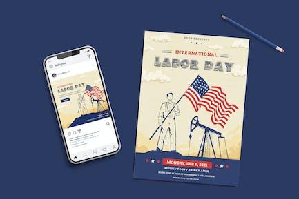 Happy Labor Day Set Templates