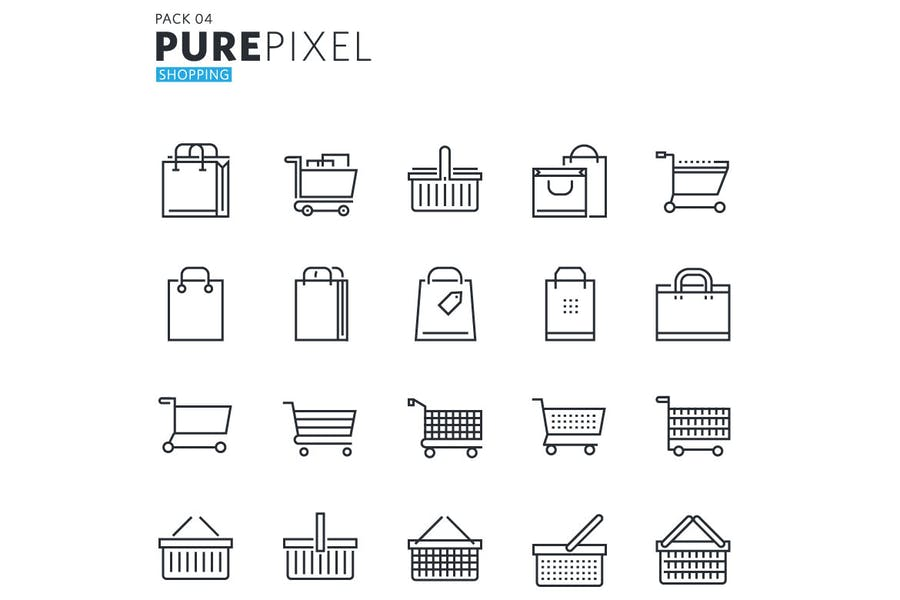 Shopping and E-commerce Pixel Perfect Icons