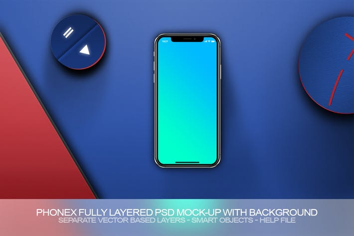 Thumbnail for PhoneX Layered PSD Mock-Up with Background