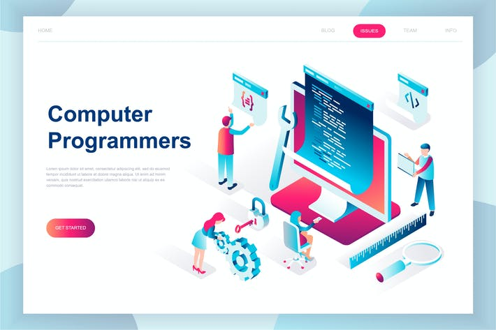 Cover Image For Computer Programmers Isometric Landing Page