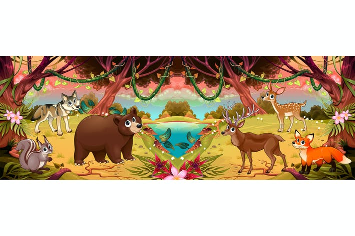 Family of Cartoon Animals in the Woods