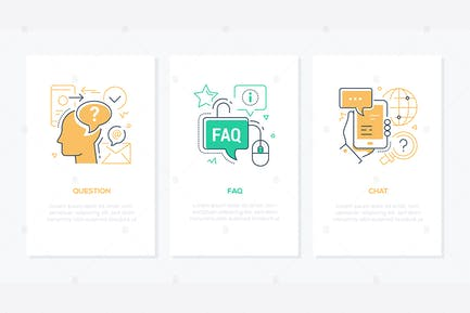 Technical support - line design style banners set