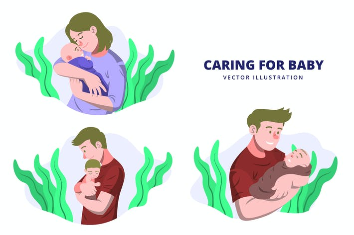 Caring for Baby - Activity Vector Illustration