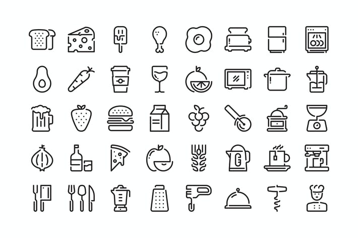 Thumbnail for 40 Food and Kitchen icons