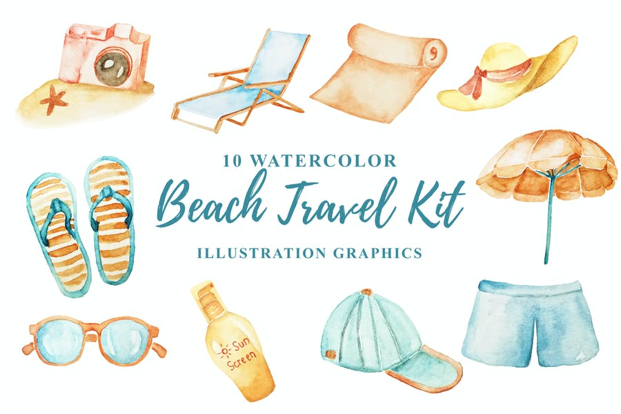 10 Watercolor Beach Travel Kit Illustration