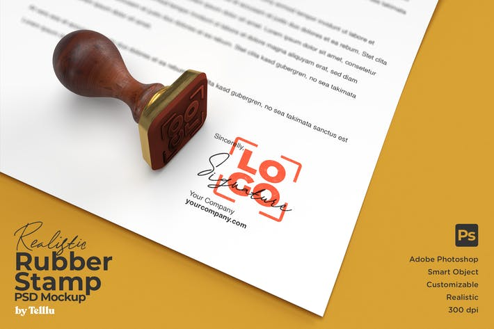 Cover Image For Realistic Square Rubber Stamp Logo Mockup