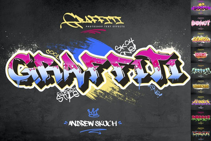 Thumbnail for Graffiti Text Effects - 10 PSD - vol 2