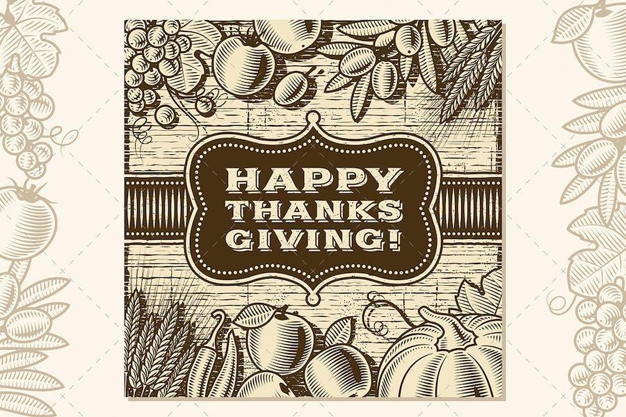 Vintage Happy Thanksgiving Card Brown