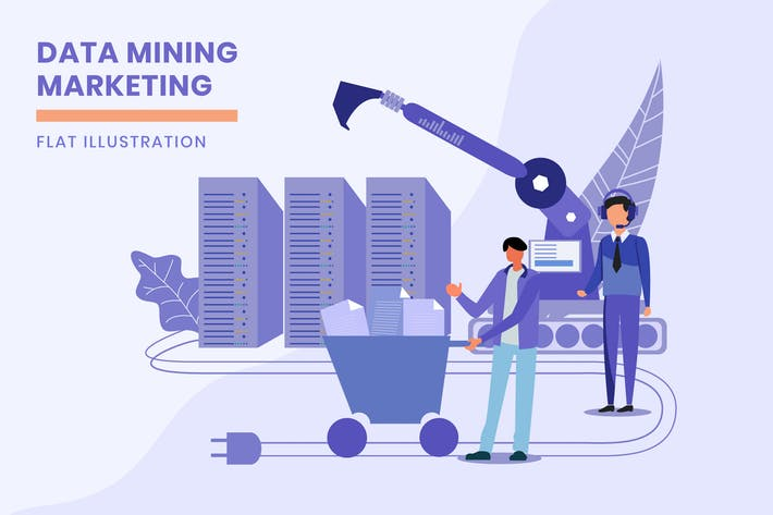 Thumbnail for Data Mining Marketing - Flat Illustration
