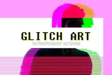 10 Glitch Art Photoshop Действия