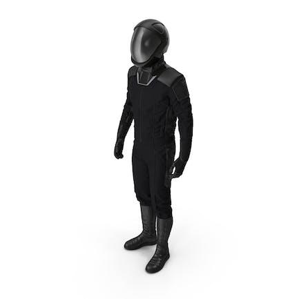 Sci Fi Астронавт Костюм Черный Стоящая Поза