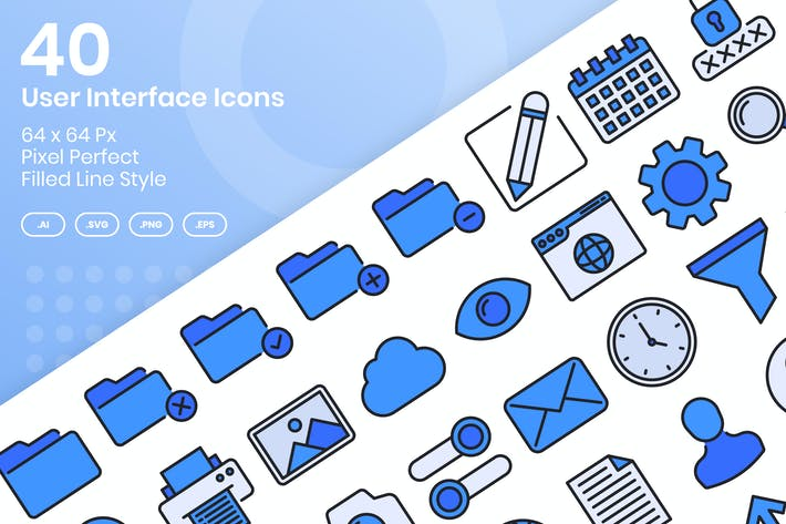 Thumbnail for 40 User Interface Icons Set - Filled Line