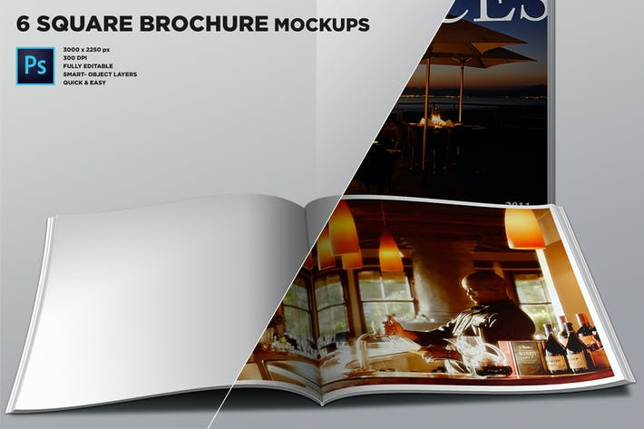 Thumbnail for Realistic Square Brochure Mockups