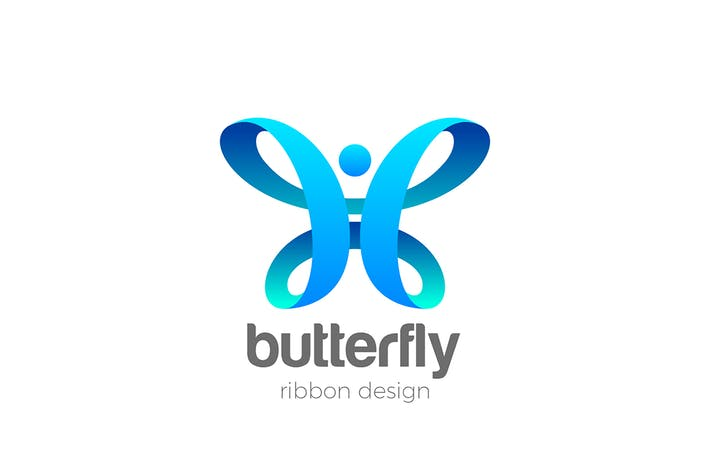 Butterfly Logo abstract design Ribbon style