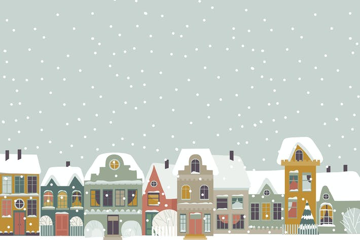 Thumbnail for Cute cartoon little town in Christmas time. Vector