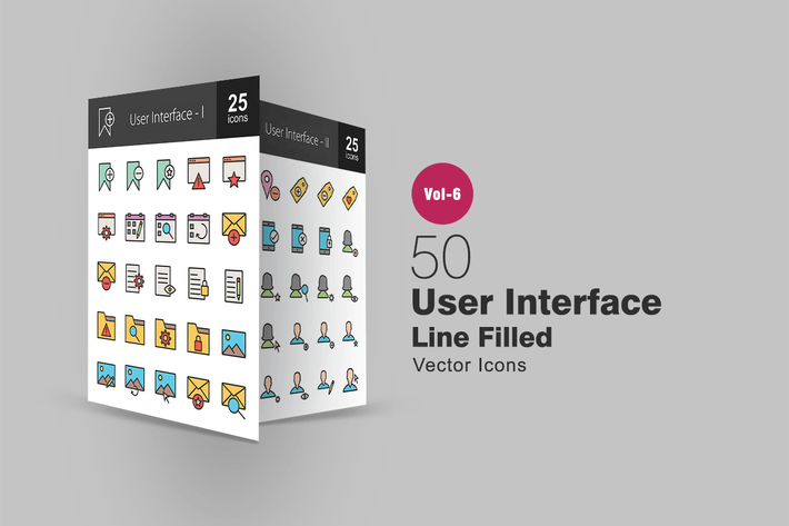 Thumbnail for 50 User Interface Glyph Multicolor BG Icons
