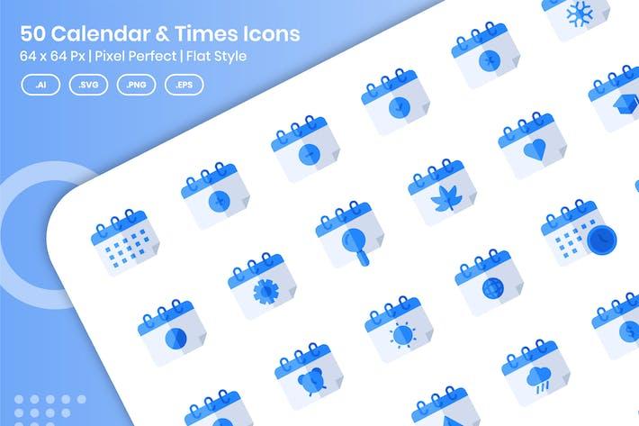 Thumbnail for 50 Calendar & Times Icons Set - Flat