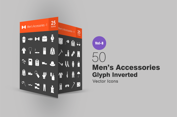 Thumbnail for 50 Men's Accessories Glyph Inverted Icons