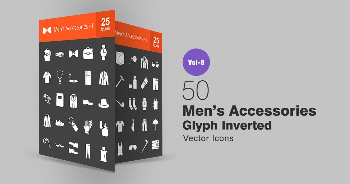 Download 50 Men's Accessories Glyph Inverted Icons by IconBunny