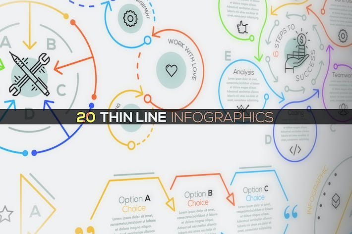 Thumbnail for 20 Thin Line Infographics