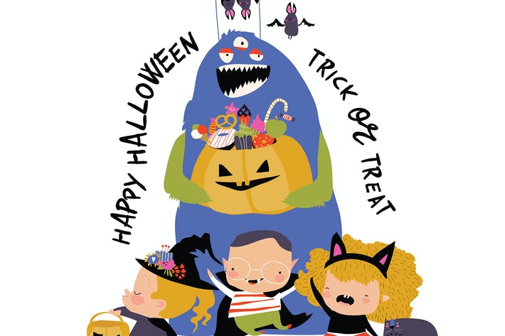 Thumbnail for Cartoon happy children trick or treating in Hallow