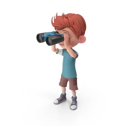 Cartoon Boy Charlie Looking Through Binoculars