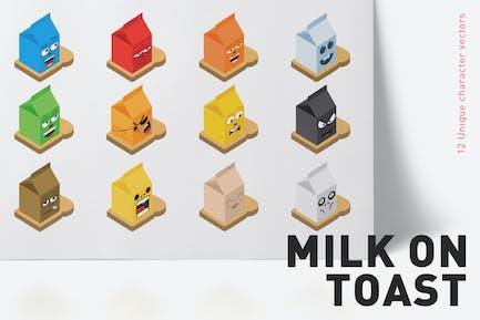 12 Milch auf Toast Charakter Vektoren
