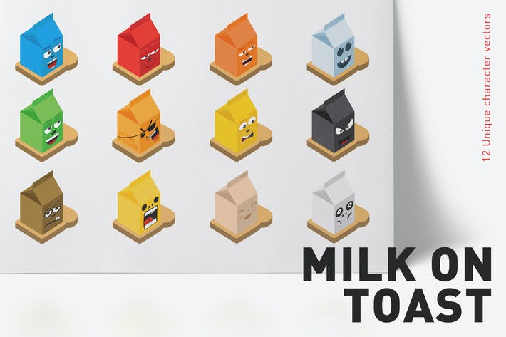 Thumbnail for 12 Milk on toast character vectors