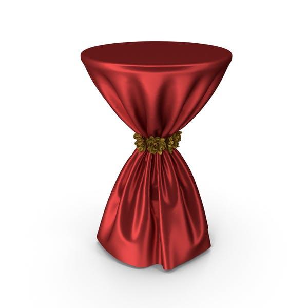 Красная шелковая скатерть Коктейльный стол с золотыми цветами