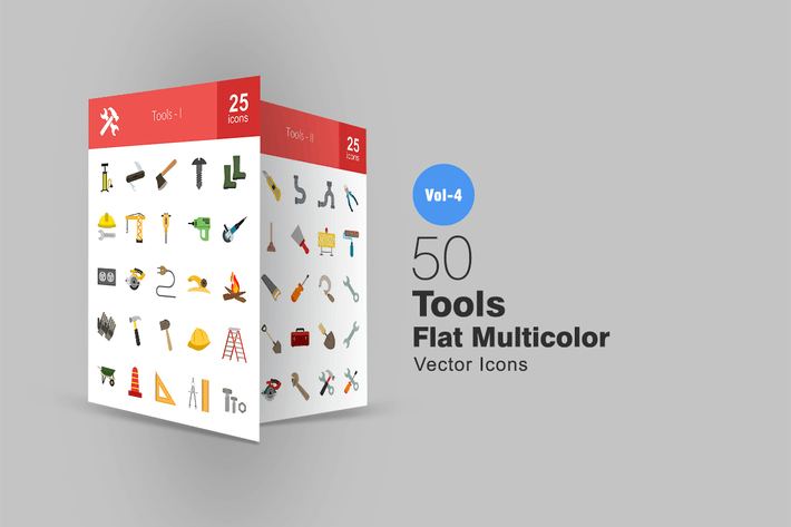 Thumbnail for 50 Tools Flat Multicolor Icons