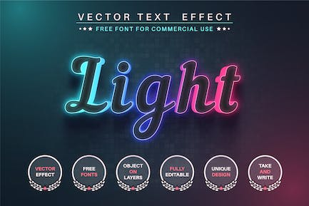 Color glow - editable text effect, font style
