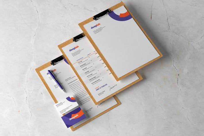 Thumbnail for Briefpapier Branding Mockup mit Zwischenablage