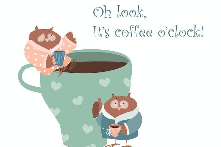 Thumbnail for Süße Eule mit Kaffeetasse. Vektor isoliert